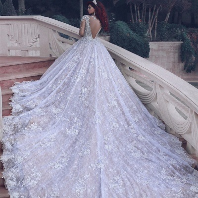 Luxurious White Wedding Dresses With Sleeves Crystal A Line Lace Wedding Dresses Bridal_4