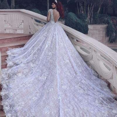 Luxurios Weiße Brautkleider Mit Ärmel Kristall A Linie Spitze Hochzeitskleider Brautmoden_4