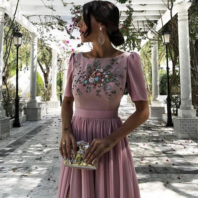 Dusty Pink Evening Dresses Long Cheap With Short Sleeves Beaded Chiffon Evening Dress Prom Dresses_4
