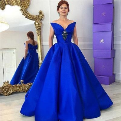 Prinzessin Quinceanera Kleider Lang Blau Abendkleider Satin Abendmoden_3
