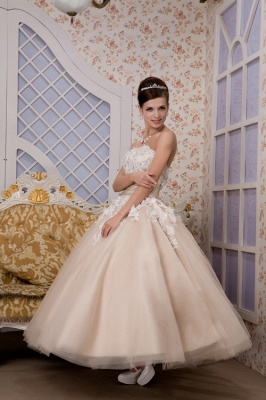 Champagne wedding dresses short with lace tulle calf-length wedding dresses bridal_4