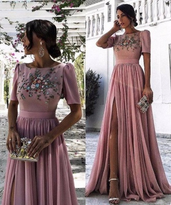 Dusty Pink Evening Dresses Long Cheap With Short Sleeves Beaded Chiffon Evening Dress Prom Dresses_3
