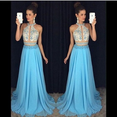 Blue White Prom Dresses Long Beaded Chiffon Cheap Prom Dresses Evening Wear_2