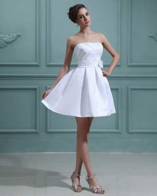 Sweet Wedding Dresses Short White A Line Mini Wedding Dresses Bridal_4