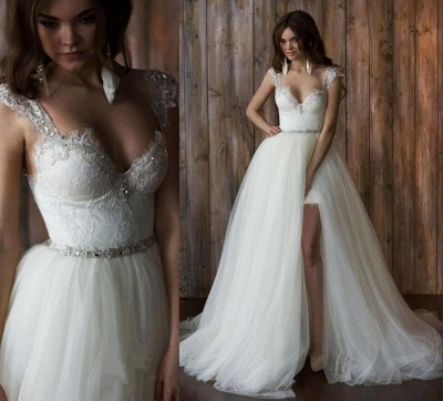 2 dividers wedding dresses lace cheap straps tulle bridal wedding dresses_5
