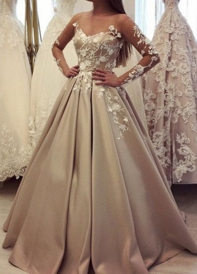 Fashion Champagne Wedding Dresses With Sleeves A Line Wedding Dress Lace Online_2