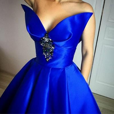 Prinzessin Quinceanera Kleider Lang Blau Abendkleider Satin Abendmoden_2