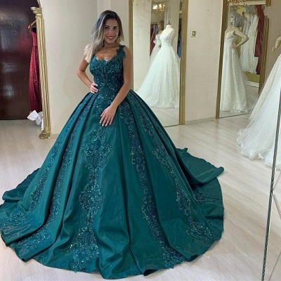 Elegant evening dresses green | Evening wear princess with lace_3