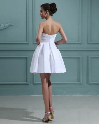 Sweet Wedding Dresses Short White A Line Mini Wedding Dresses Bridal_3
