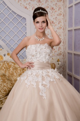 Champagne wedding dresses short with lace tulle calf-length wedding dresses bridal_3