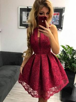 Elegant red evening dresses short | Cocktail dresses prom dresses lace online_1