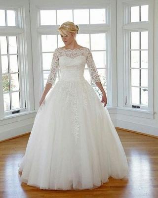 Elegante Weiß Brautkleider Große Größe Lang Ärmel Spitze Übergröße Hochzeitskleider Günstig_2