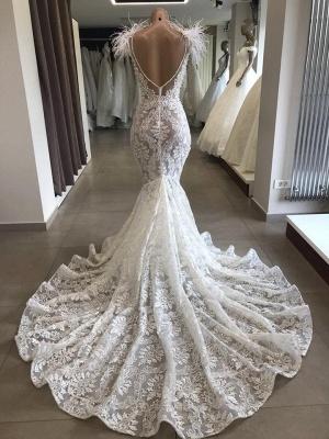Spitze Brautkleid Meerjungfrau | Vintage Kleider Hochzeit | Brautkleid mit Federn_2