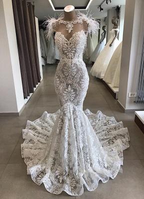 Spitze Brautkleid Meerjungfrau | Vintage Kleider Hochzeit | Brautkleid mit Federn_1