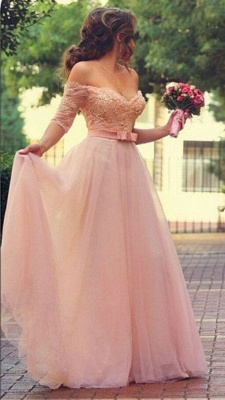 Pink Wedding Dresses Long Sleeves Lace Beaded Tulle Bridal Wedding Dresses Cheap_2