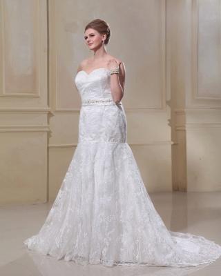 Weiß Brautkleider Große Größe Spitze Meerjungfrau Übergröße Hochzeitskleider Mit Schleppe_4