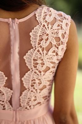 Günstig Brautjungfernkleider Lang Pink Mit Spitze Chiffon Kleider Für Brautjungfern_5