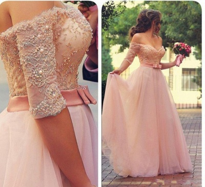 Pink Wedding Dresses Long Sleeves Lace Beaded Tulle Bridal Wedding Dresses Cheap_3