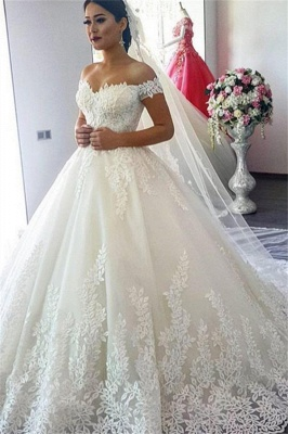 Schlichte Brautkleider Weiß Mit Spitze A Linie Schulterfrei Schleppe Hochzeitskleider Günstig_1