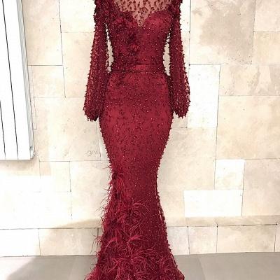 Fashion Abendkleider Lang Spitze Rot | Abiballkleid Mit Ärmel_3