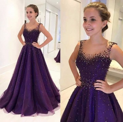 Cheap Navy Blue Long Evening Dresses Lace Beaded A Line Prom Dresses Online_2