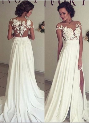 White evening dress long with lace chiffon cheap prom dresses party dresses to moderate_1