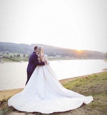 Schlichte A linie Brautkleider Mit Ärmel Spitze Hochzeitskleider Online_2