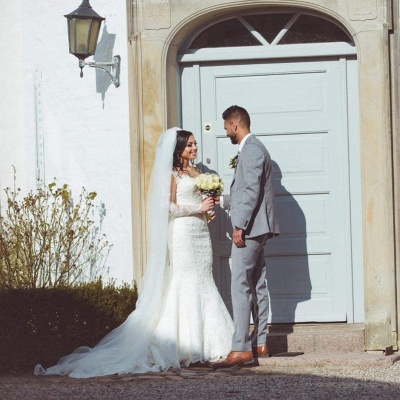 Sexy wedding dresses with sleeves | Mermaid wedding dress lace online_2