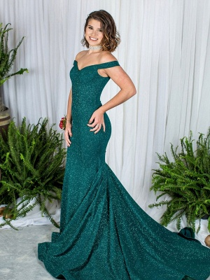 Grüne Abendkleider Lang Günstig Pailletten Kleider Abiballkleider Online_1