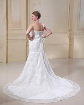 Weiß Brautkleider Große Größe Spitze Meerjungfrau Übergröße Hochzeitskleider Mit Schleppe_3