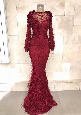 Fashion Abendkleider Lang Spitze Rot | Abiballkleid Mit Ärmel_1