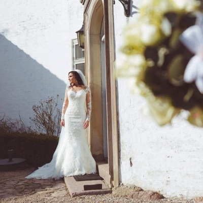 Sexy wedding dresses with sleeves | Mermaid wedding dress lace online_5