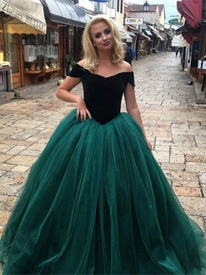 Black green evening dresses long cheap princess evening wear online_1