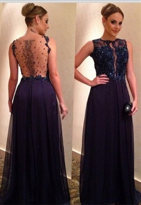 Black long evening dresses with lace tulle prom dresses prom dress_1