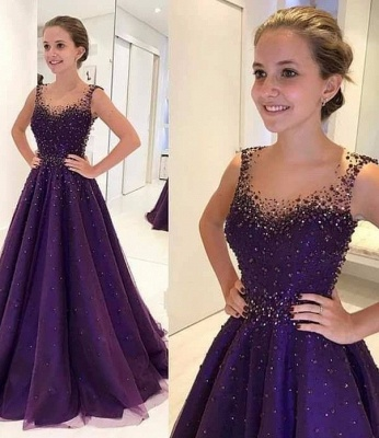 Cheap Navy Blue Long Evening Dresses Lace Beaded A Line Prom Dresses Online_1
