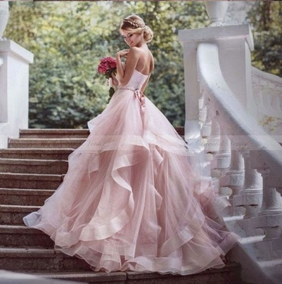 Buy Modern Pink Wedding Dresses With Lace Heart Princess Wedding Gowns Online_2