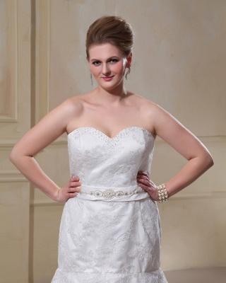 Weiß Brautkleider Große Größe Spitze Meerjungfrau Übergröße Hochzeitskleider Mit Schleppe_2
