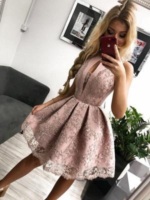 Elegant red evening dresses short | Cocktail dresses prom dresses lace online_2