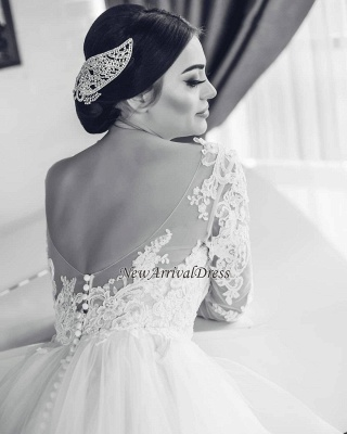 Fashion Wedding Dresses With Sleeves Lace A Line Wedding Dresses Big Size_3