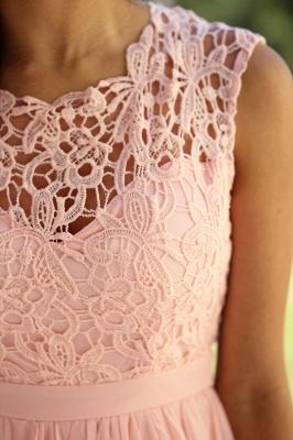Günstig Brautjungfernkleider Lang Pink Mit Spitze Chiffon Kleider Für Brautjungfern_4