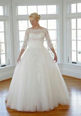 Elegante Weiß Brautkleider Große Größe Lang Ärmel Spitze Übergröße Hochzeitskleider Günstig_1