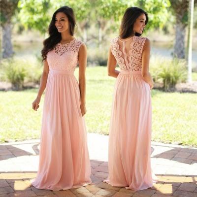 Günstig Brautjungfernkleider Lang Pink Mit Spitze Chiffon Kleider Für Brautjungfern_6