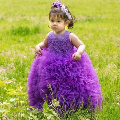Purpur Lange Blumenmädchenkleider Tüll Blumenkinder Kleider Günstig Online_3