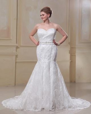 Weiß Brautkleider Große Größe Spitze Meerjungfrau Übergröße Hochzeitskleider Mit Schleppe_5