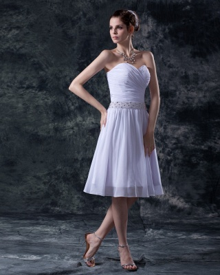 schlicht Weiß Brautkleider Kurz Chiffon Perlen Mini Brautmoden Hochzeitskleider_3