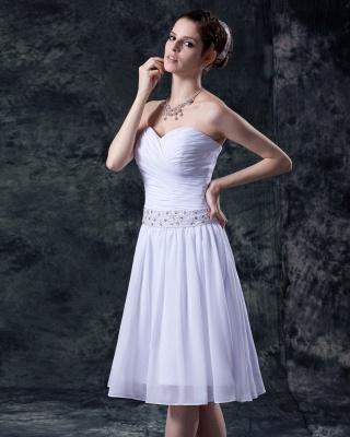 schlicht Weiß Brautkleider Kurz Chiffon Perlen Mini Brautmoden Hochzeitskleider_4