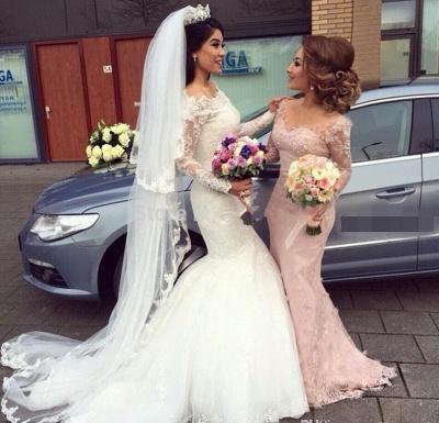 Pink Bridesmaid Dresses Long Sleeves Lace Mermaid Dresses For Bridesmaids_5