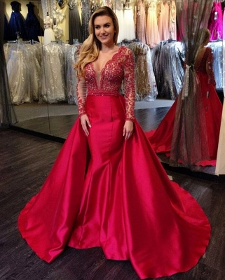 Red Evening Dress Long Sleeves With Lace Satin Evening Wear Prom Dresses_2