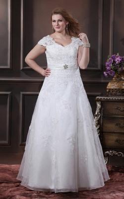 Übergröße Brautkleider Weiß Mit Spitze Hochzeitskleider Große Größe Organza_1