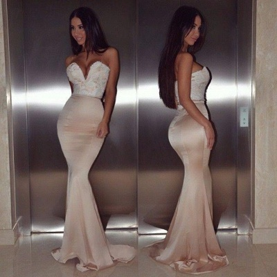 Champagne Long Evening Dresses Cheap With Lace Mermaid Evening Wear Prom Dresses_2